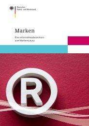 Marken - Eine Informationsbroschüre zum Markenschutz - DPMA