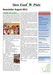Slow Food® Pfalz Newsletter August 2011 - Slow Food Deutschland ...