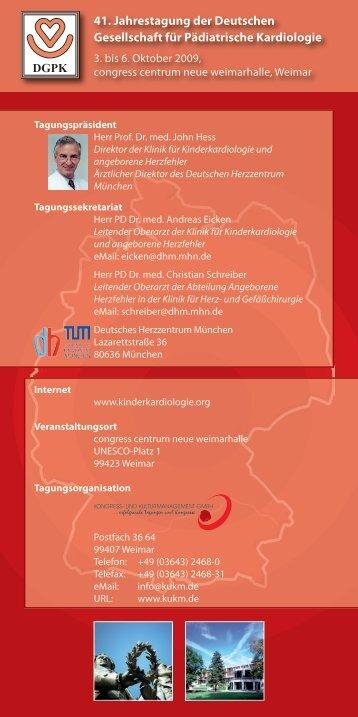 41 Jahrestagung der Deutschen Gesellschaft für Pädiatrische Kardiologie