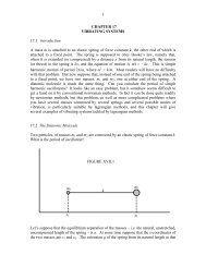 1 CHAPTER 17 VIBRATING SYSTEMS 17.1 Introduction A mass m ...