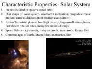 Characteristic Properties- Solar System