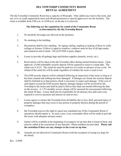 Ida Township Community Room Rental Agreement