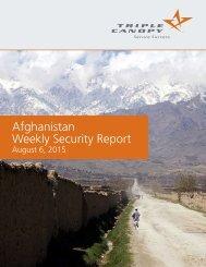 Afghanistan Weekly Security Report