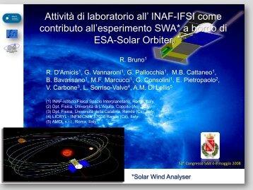 contributo all'esperimento SWA* a bordo di ESA-Solar Orbiter