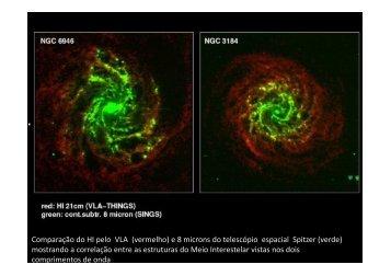 Comparação do HI pelo VLA (vermelho) e 8 microns do telescópio ...