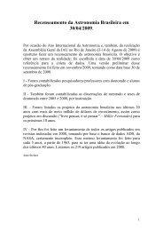 Recenseamento da Astronomia Brasileira em 30/04/2009