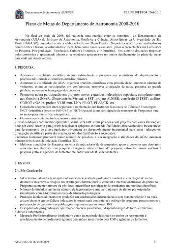 Plano de Metas do Departamento de Astronomia 2008-2010