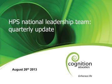 August 2013 quarterly update webinar - Health Promoting Schools