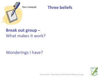 Break out group – What makes it work? Wonderings I have?