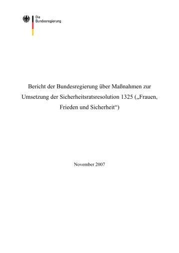Bericht der Bundesregierung Deutschland zur ... - un1325.de