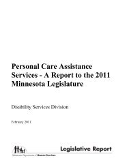 Personal Care Assistance Services - A Report to the 2011 Minnesota Legislature