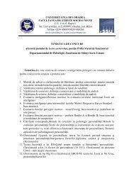 universitatea din oradea facultatea de ştiinţe socio-umane
