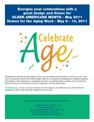 May 2011 Homes for the Aging Week - May 8 - Aging Services of ...