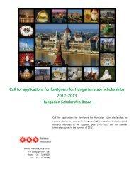 Felhívás külföldi pályázók részére magyar állami ösztöndíjra