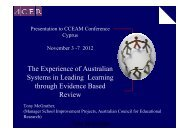 The experiences of Australian systems with an ... - CCEAM 2012