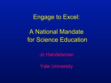 Engage to Excel A National Mandate for Science Education
