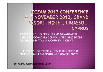 Leadership and leadership skills - CCEAM 2012