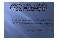 Dr P Chatzipanagiotou European University Cyprus CCEAM Limassol 4/11/12