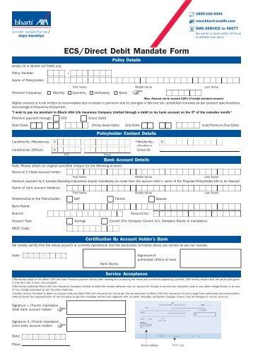 ecsdirect debit mandate form - Direct Debit Form