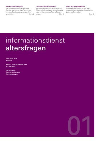 Informationsdienst Altersfragen Heft 01/2004 - Deutsches Zentrum ...