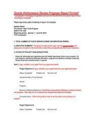 Grants Performance Review Progress Report Format*