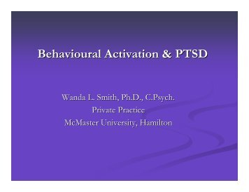 Behavioural Activation & PTSD