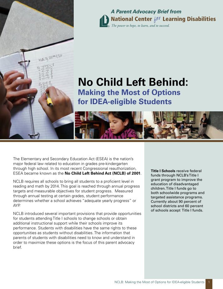an article about the no child left behind bill essay Home policy 14 crucial pros and cons of the no child left  the no child left behind act has definitely changed the procedures and standards  previous article.