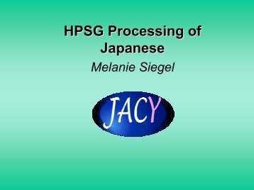 HPSG Processing of Japanese