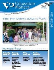 Aug 2013 Newsletter - Valley Park School District