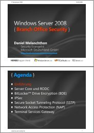 Windows Server 2008 { Branch Office Security }