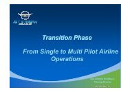 Transition Phase From Single to Multi Pilot Airline Operations