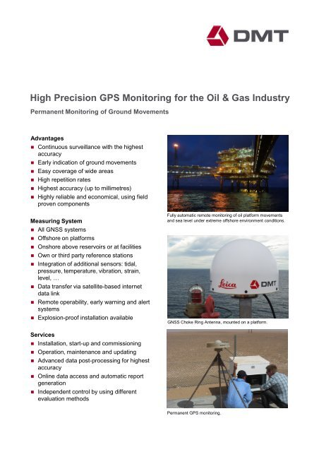 High Precision GPS Monitoring for the Oil - DMT GmbH & Co  KG