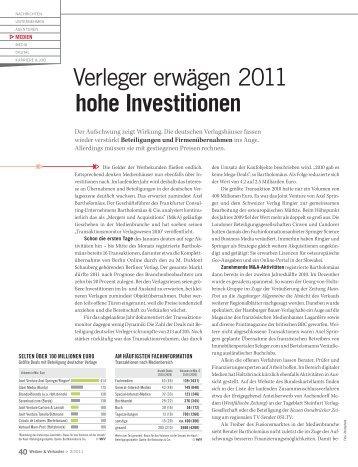 Verleger erwägen 2011 hohe Investitionen