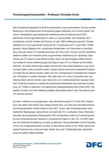 Forschungsschwerpunkte – Professor Christian Kurts - DFG
