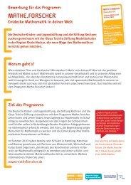 Bewerbung für das Programm Mathe.Forscher entdecke Mathematik ...