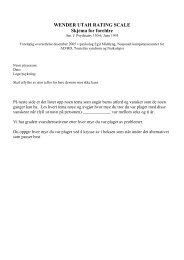 WENDER UTAH RATING SCALE Skjema for foreldre