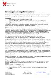 Informasjon om mage- / tarm infeksjon - Sykehuset Østfold