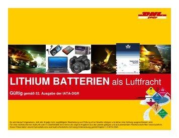 Lithium Batterien als Luftfracht - DHL