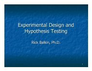 Experimental Design and Hypothesis Testing