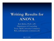 Writing Results for ANOVA