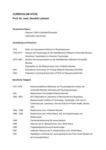 CURRICULUM VITAE Prof. Dr. med. Hendrik Lehnert
