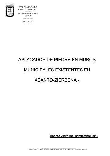 APLACADOS DE PIEDRA EN MUROS MUNICIPALES EXISTENTES EN ABANTO-ZIERBENA.-