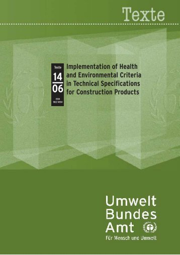 Implementation of Health and Environmental Criteria in Technical ...