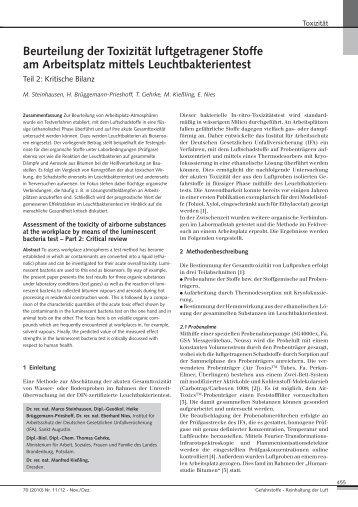 Beurteilung der Toxizität luftgetragener Stoffe am Arbeitsplatz mittels