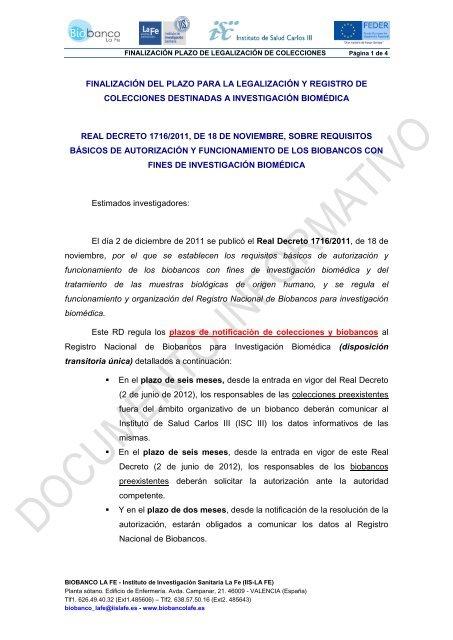 finalización del plazo para la legalización y registro de ... - IIS La Fe