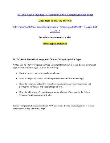 SCI 362 Week 5 Individual Assignment Climate Change Regulation Paper/Uoptutorial