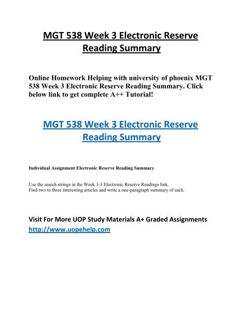 MGT 538 Week 3 Electronic Reserve Reading Summary Online