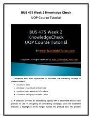 BUS 475 Week 2 Knowledge Check UOP Course Tutorial.pdf
