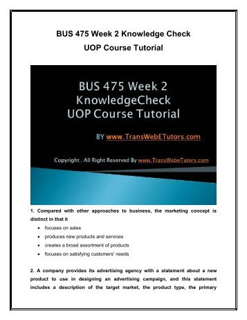 BUS 475 Week 2 Knowledge Check UOP Course Tutorial.pdf