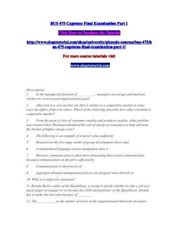 BUS 475 Capstone Final Exam Part 1 and 2/shoptutorial